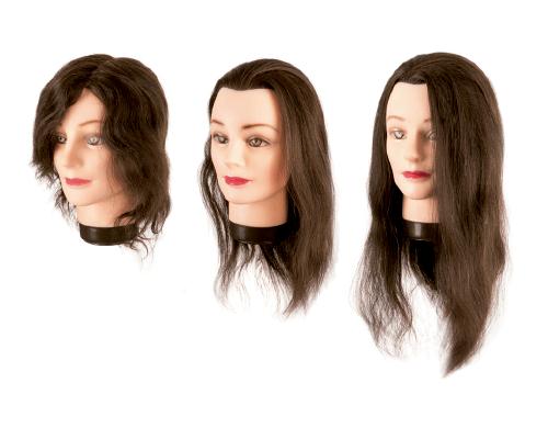 Cabezas maniquí cabello natural castaño