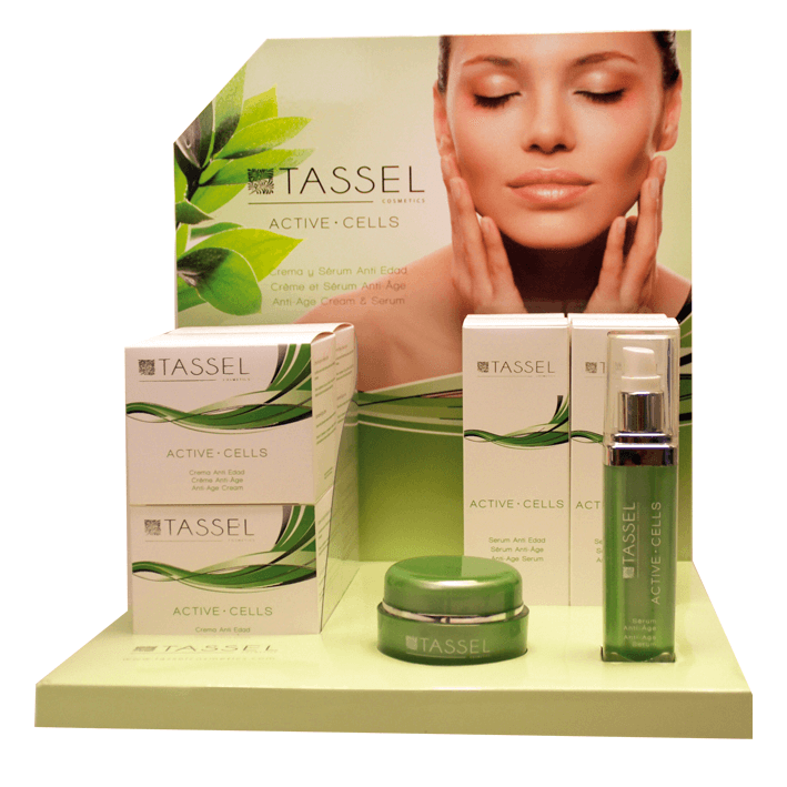 Expositor cosmética Células Madre Tassel Skin Cosmetics
