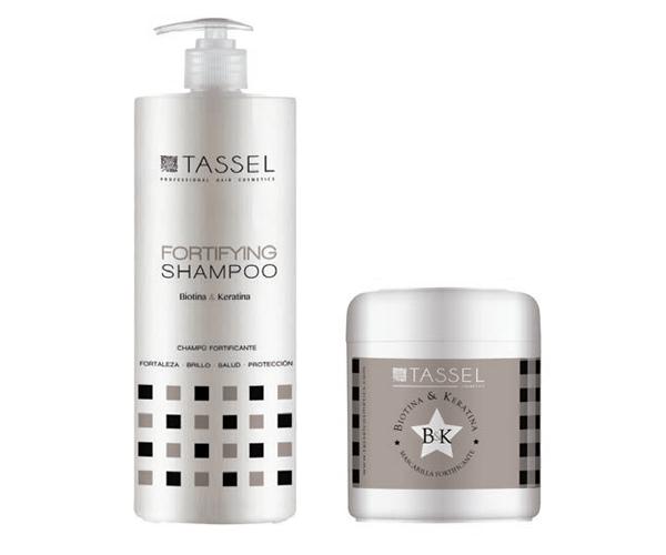 Champú y mascarilla biotina y keratina Tassel Professional Hair Cosmetics